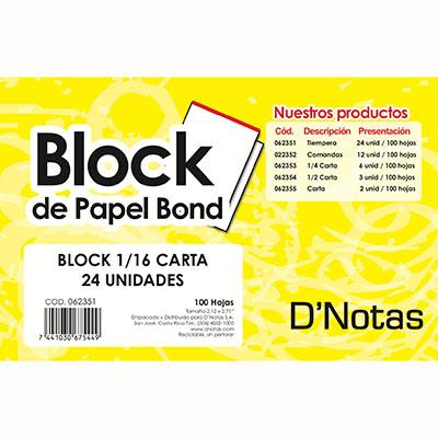 BLOCK BLANCO 1/16 CARTA TIEMPOS D NOTAS 24UDS 100H