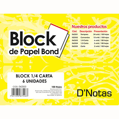 BLOCK BLANCO 1/4 CARTA D NOTAS PAQUETE 6 UNIDADES