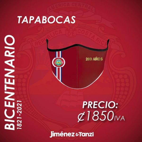 TAPABOCAS BICENTENARIO ROJO CON BANDERA Y ESCUDO