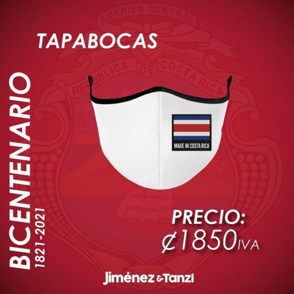 TAPABOCAS BICENTENARIO BLANCA CON BANDERA