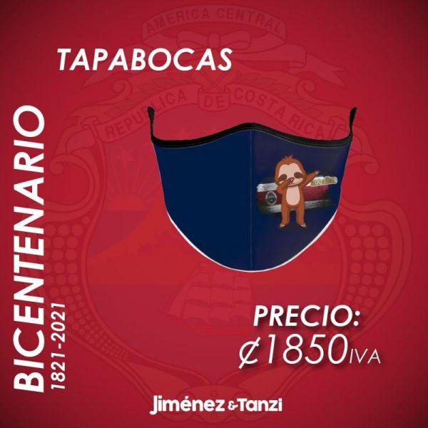 TAPABOCAS BICENTENARIO AZUL CON PEREZOSO Y BANDERA