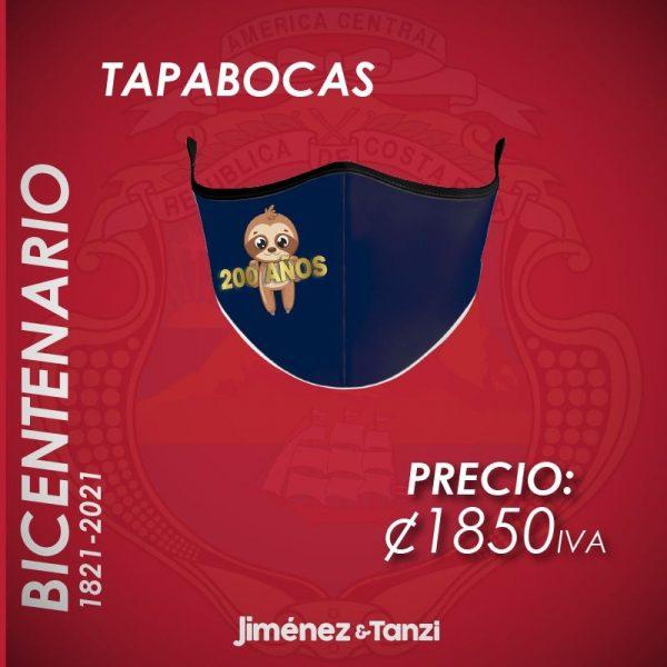 TAPABOCAS BICENTENARIO AZUL CON PEREZOSO